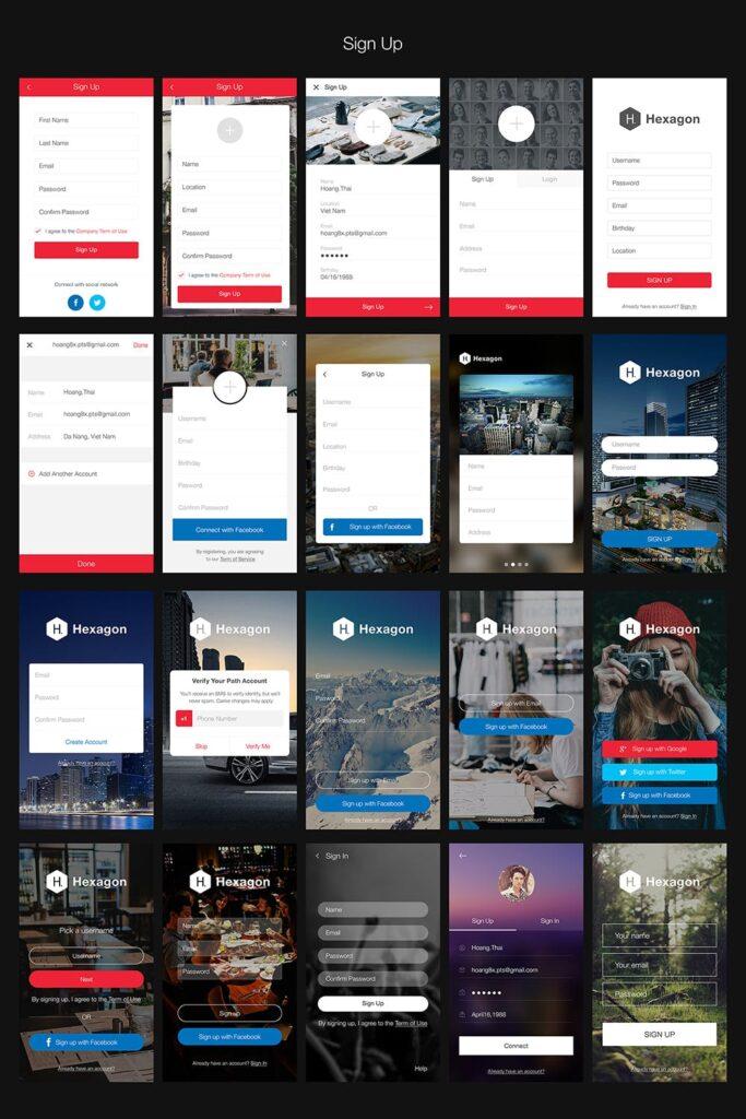 图片社交类应用UI组件模板素材Hexagon Mobile UI Kit插图(3)