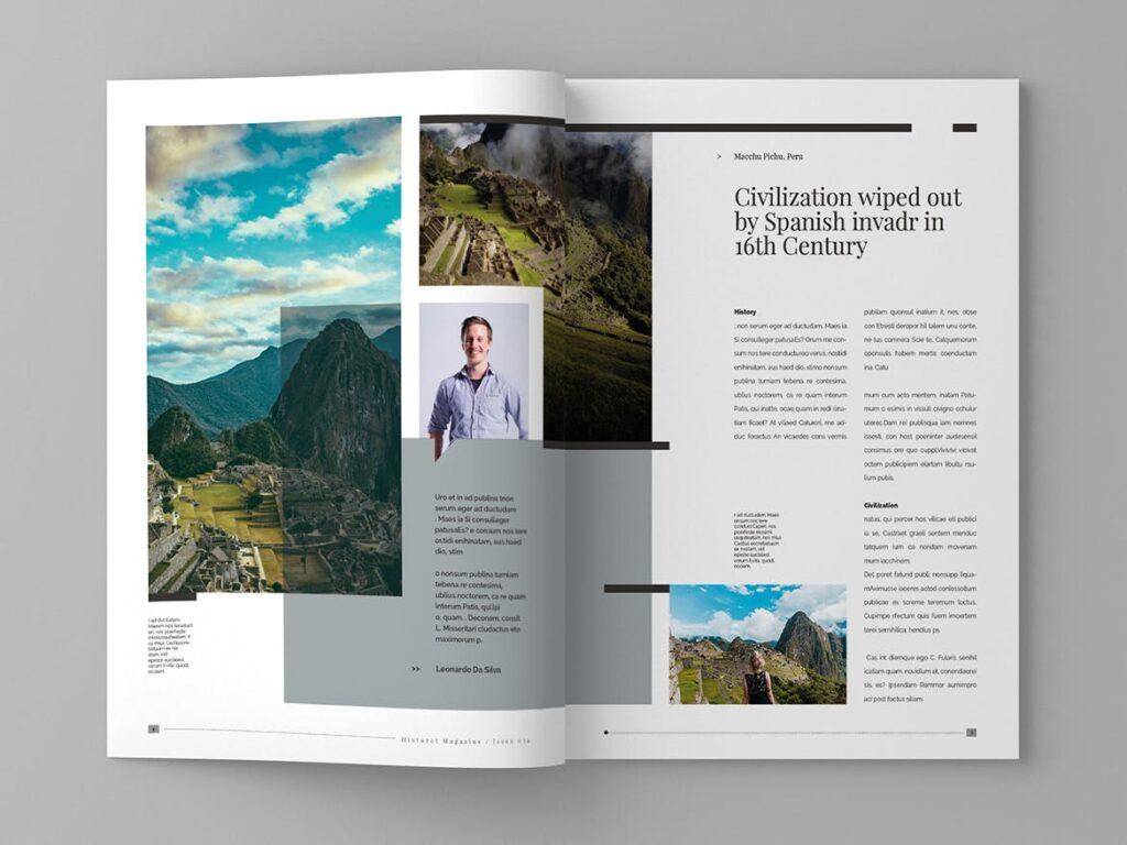 复古风格历史介绍类型杂志模板素材Historct Magazine Template插图(3)