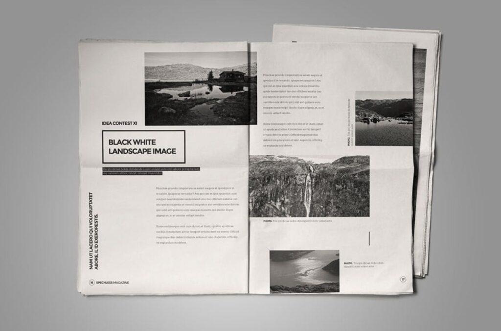 黑白风格历史介绍杂志模版素材InDesign Magazine Template WBM4TW插图(3)