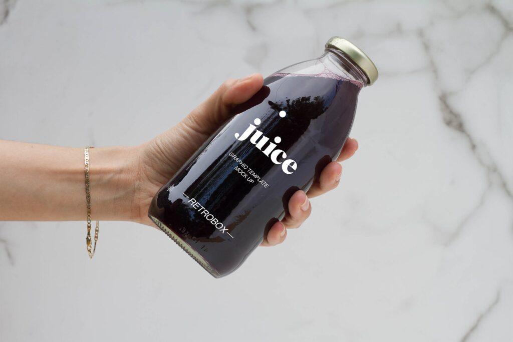 果汁玻璃瓶效果样机模型下载Juice Bottle Mock Up插图(3)