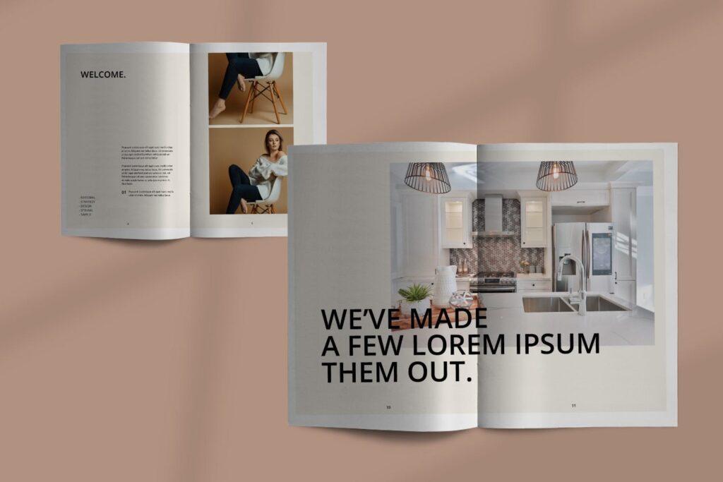 室内设计案例介绍/企业创意产品画册模板Luxville Fashion Magazine插图(3)