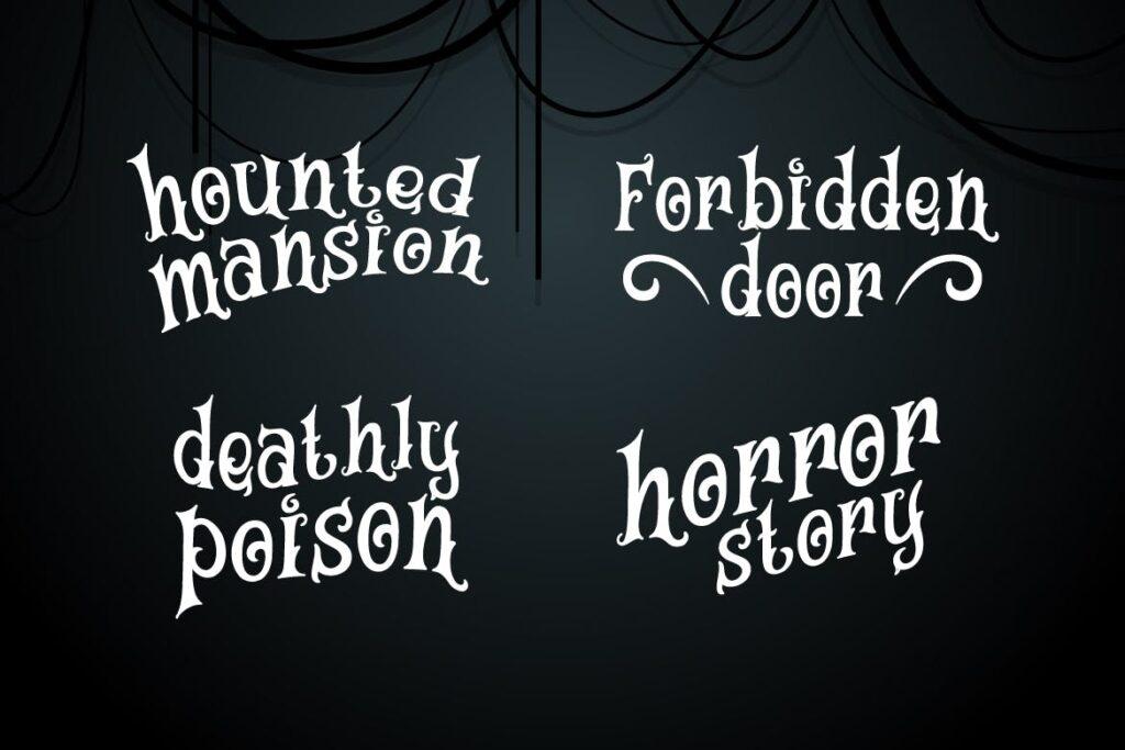 万圣节海报手写英文衬线字体下载Magic House Haunted Halloween Typeface插图(3)