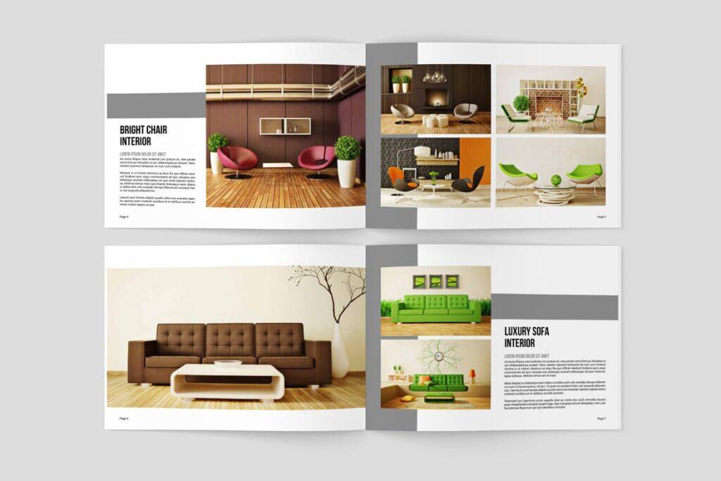 横版室内设计小册子/目录画册模板Minimal Interior Brochure插图(3)