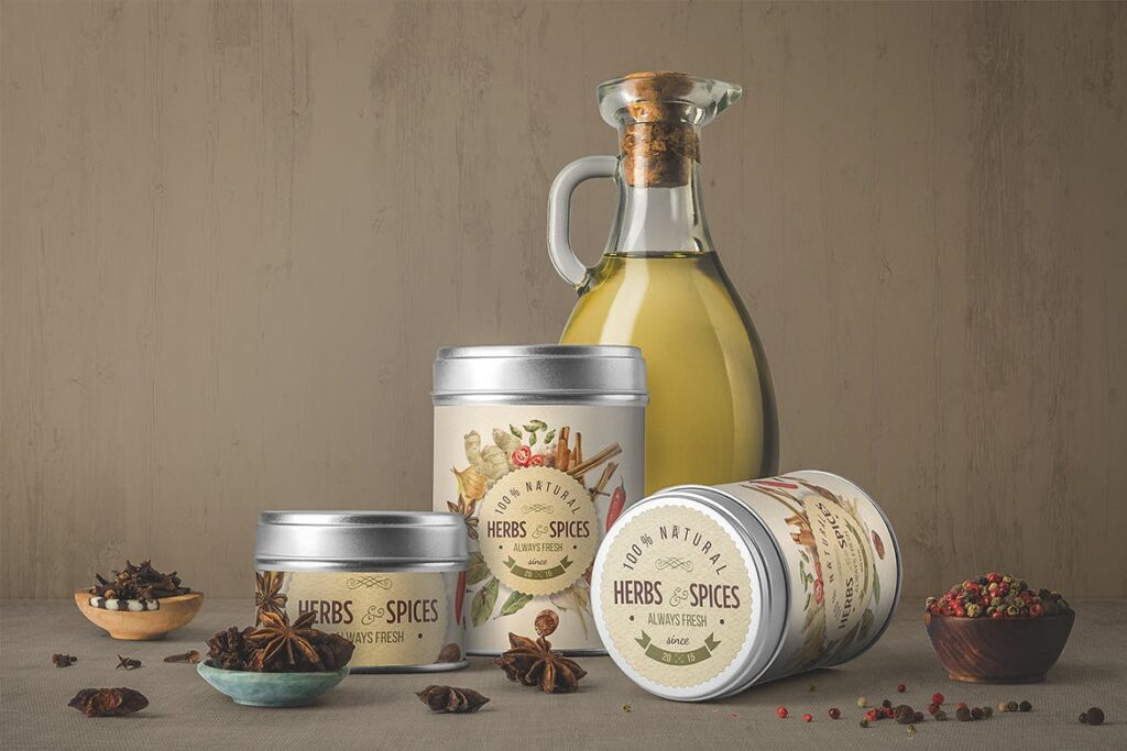 橄榄油瓶包装和香料模型样机素材下载Oil Bottle and Spices Packaging Mockup插图(3)