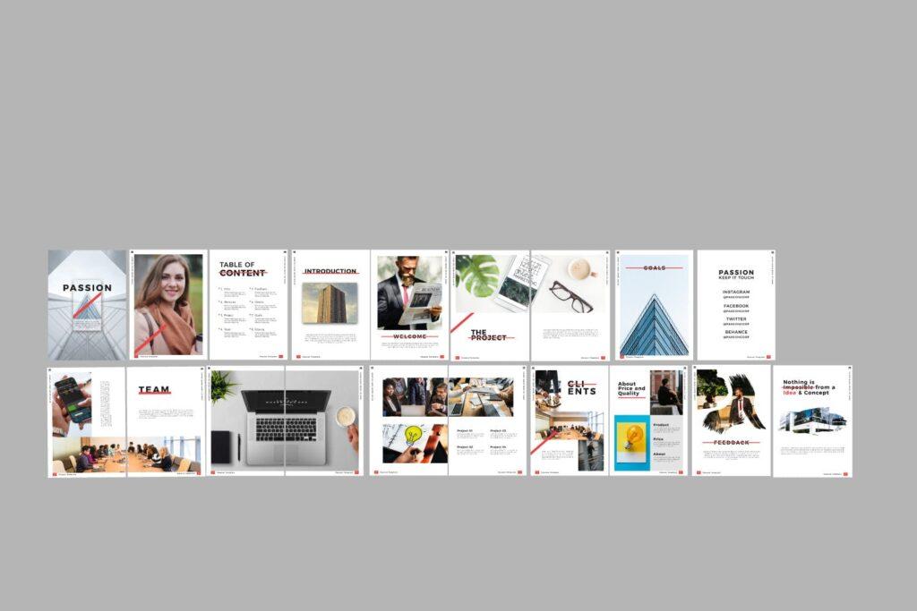 商务汇演/企业路演规划书模板素材Passion Brochure Minimal Business Company插图(3)