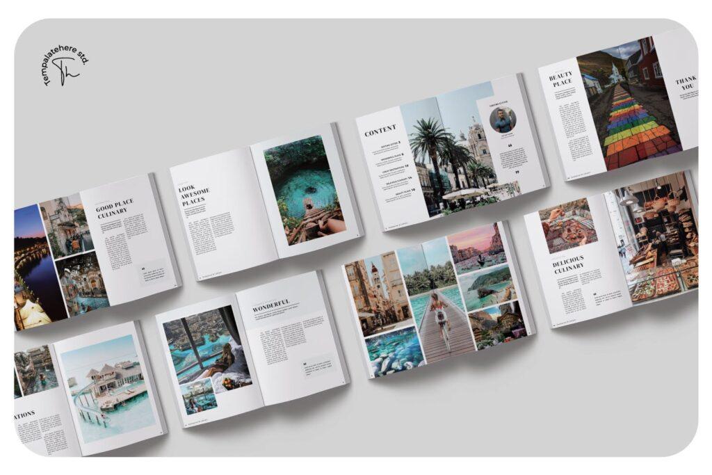 旅游简约和中性的杂志设计画册模版Place Magazine Template Lookbook插图(3)
