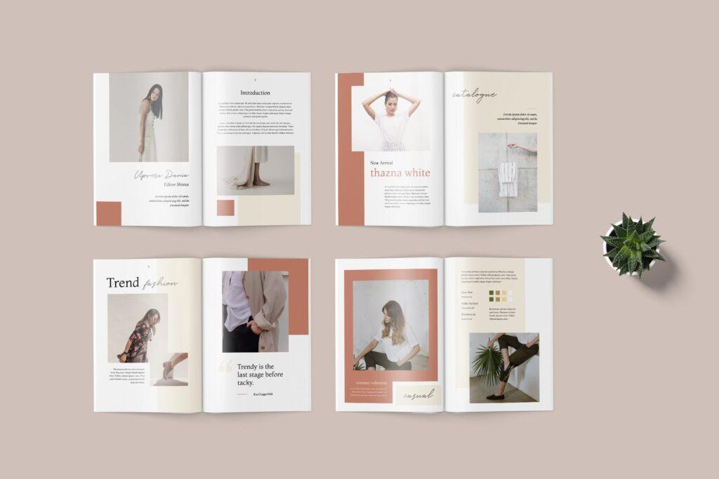 素雅时尚服装品牌画册杂志模版素材Shirea Fashion Lookbook Magazine插图(3)