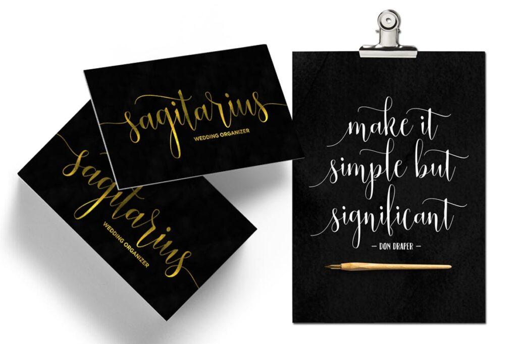 线条流畅现代书法手写字体/婚礼邀请函请柬手写字体Smoothline Script插图(3)