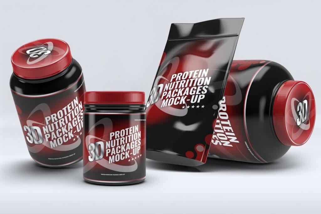 健身营养蛋白粉包装瓶样机模型下载Sport Nutrition Packages MockUp插图(3)