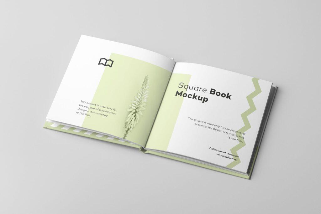 文艺优雅正方形书籍样机模板下载Square Book Mock up 2插图(3)