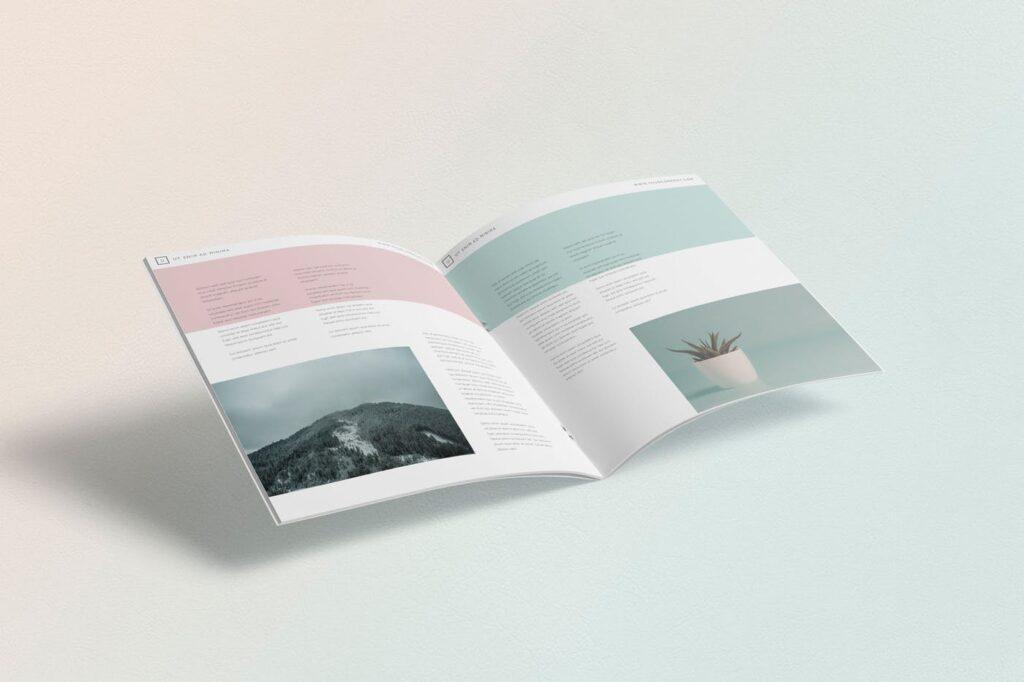 企业介绍类小册子/杂志模型样机素材下载Square Brochure Magazine MockUp插图(3)