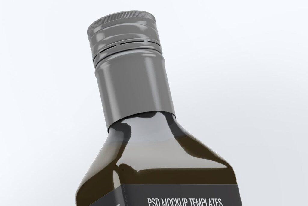厨房通用调味瓶/黑色方形玻璃瓶模型样机素材Square Glass Bottle MockUp插图(4)