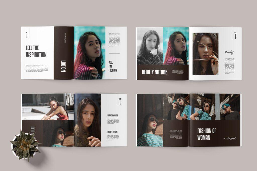 摄影作品集个人经典写真集杂志画册模版Square Photobook Magazine插图(3)