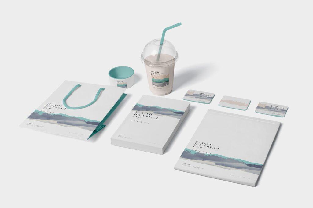 塑料透明冰激凌杯模型样机/品牌包装Transparent Plastic Ice Cream Cup Mockups插图(3)