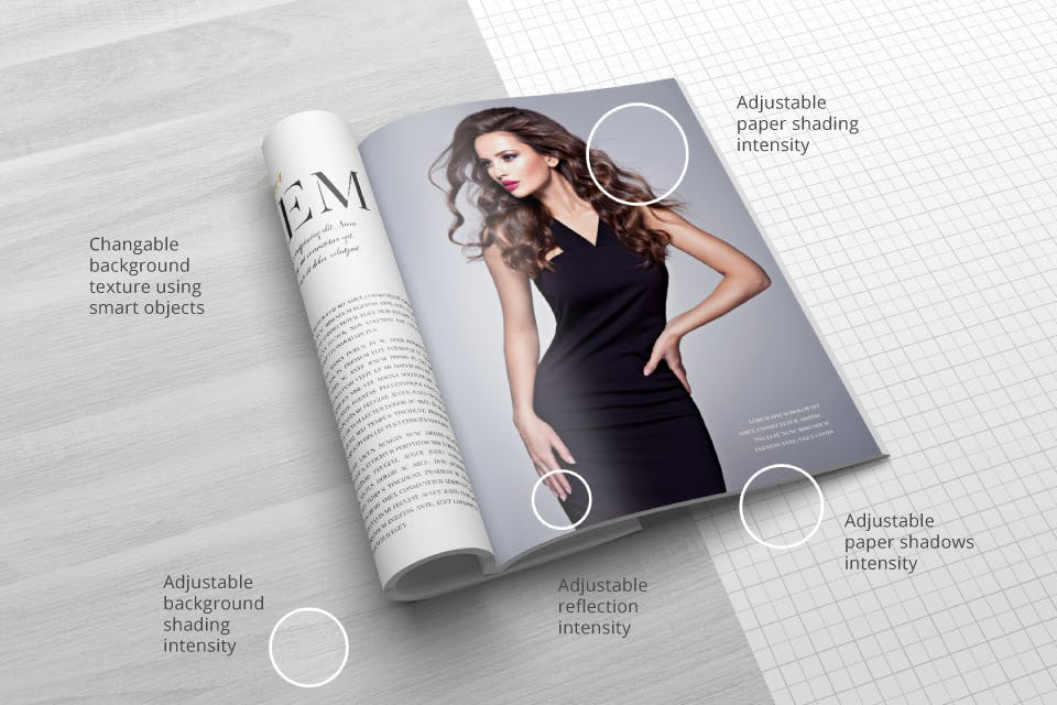 时尚服装杂志/封面/内页样机展示US Letter Magazine Mockup VN7KUN插图(2)