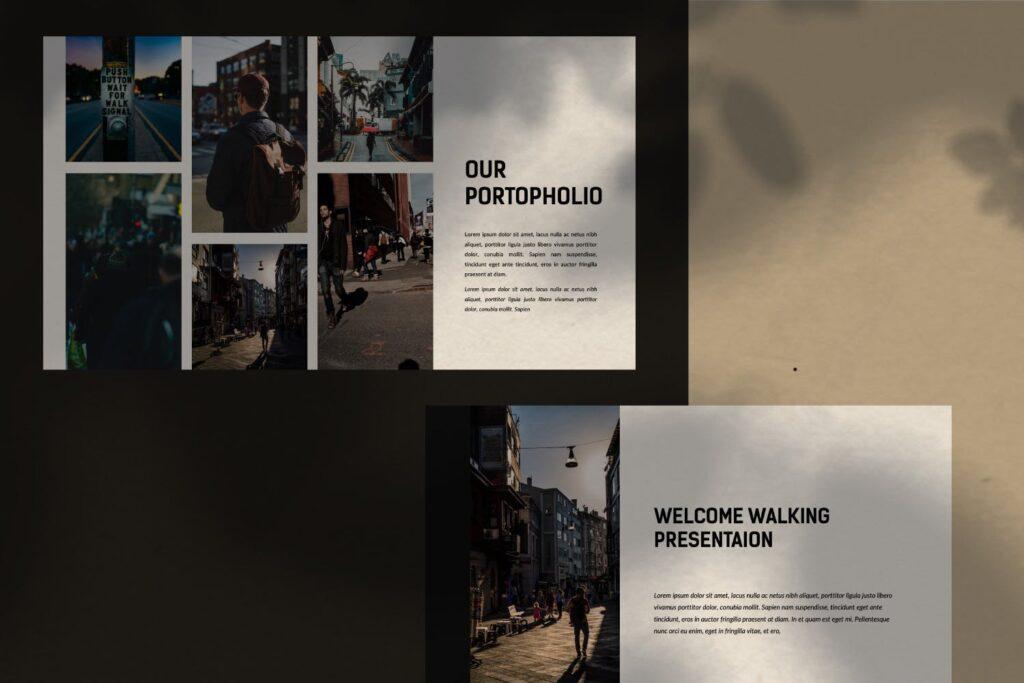 出行行业数据调研及用户分析画像PPT幻灯片模板Walking Powerpoint插图(3)