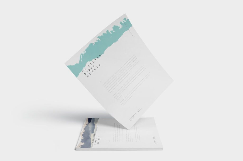 企业宣传传单模型样机效果图下载5 US Letter Paper Mockups插图(4)