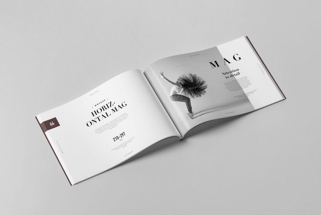 A4横版杂志封面/内页展示样机4 Horizontal Magazine Mockup 3插图(4)
