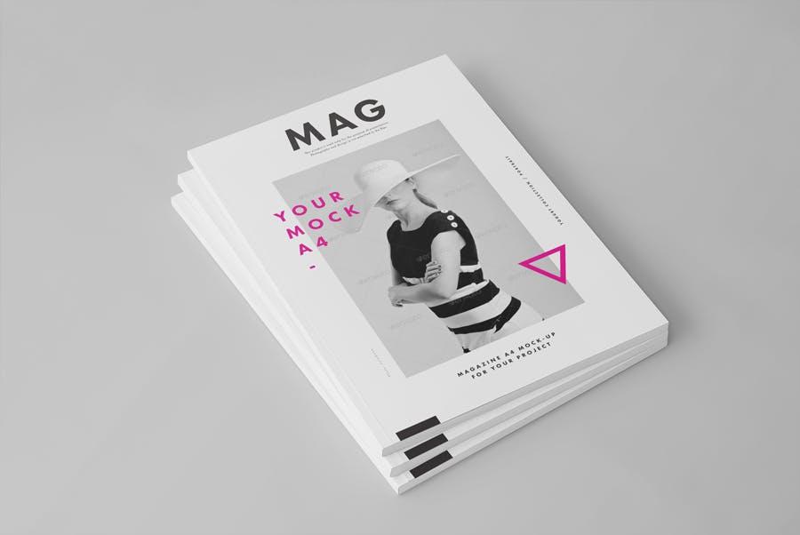 逼真的A4艺术类杂志/目录模型样机A4 Magazine Mockup 2插图(3)