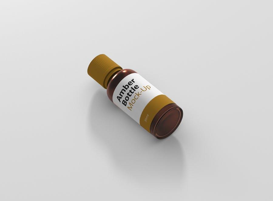 6个高品质琥珀药品瓶模型样机Amber Bottle Mockup插图(4)