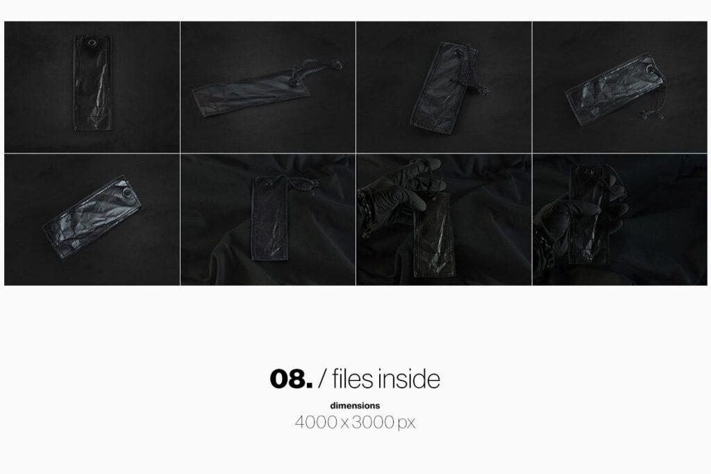 8个黑色高端优质标签模型样机Black Edition Tag Label Mockup插图(4)