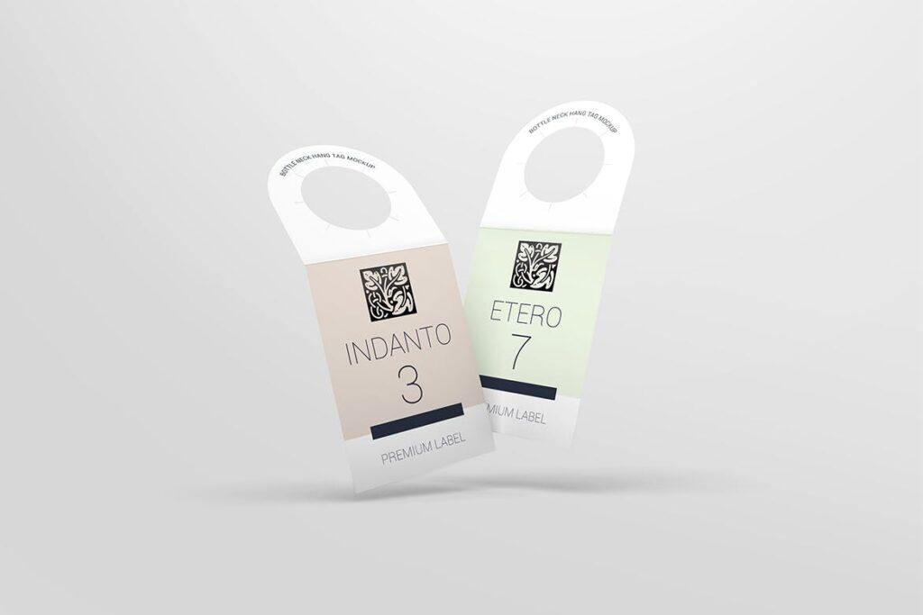 高端红酒标签样机模型效果图Bottle Neck Hang Tag Mockup插图(4)