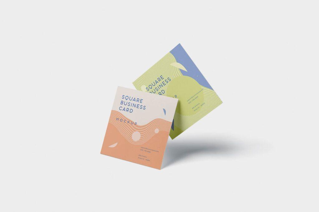 方形商务名片模型样机效果图Business Card Mockup in Square Format插图(4)