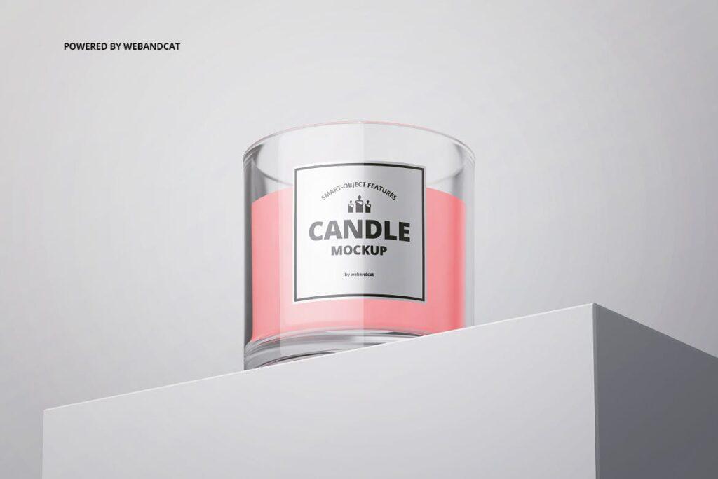 5个高质量蜡烛玻璃模型样机展示效果图Candle in Glass Mockup插图(4)
