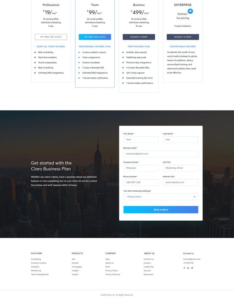 软件仪表盘APP登陆页面网站UI素材模板Claro Software Dashboard App Landing Page插图(4)