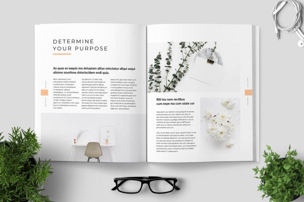 简洁优雅时生活方式或销售展示画册模板素材下载Clean Minimal Magazine Design插图(4)