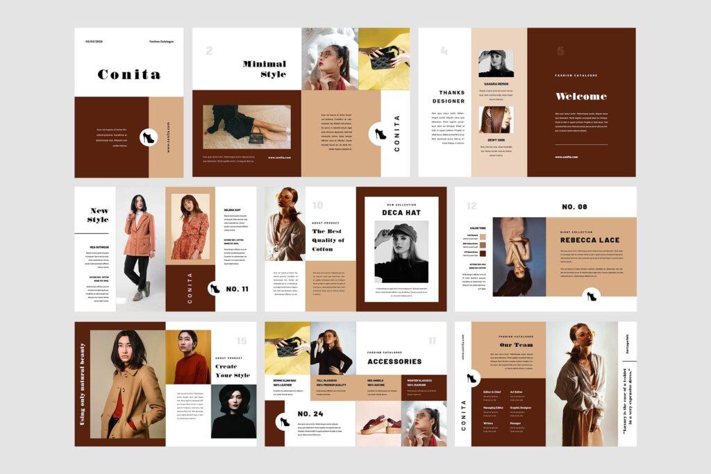 高端服装品牌季节流行单品杂志模版Conita Fashion Lookbook Magazine插图(4)