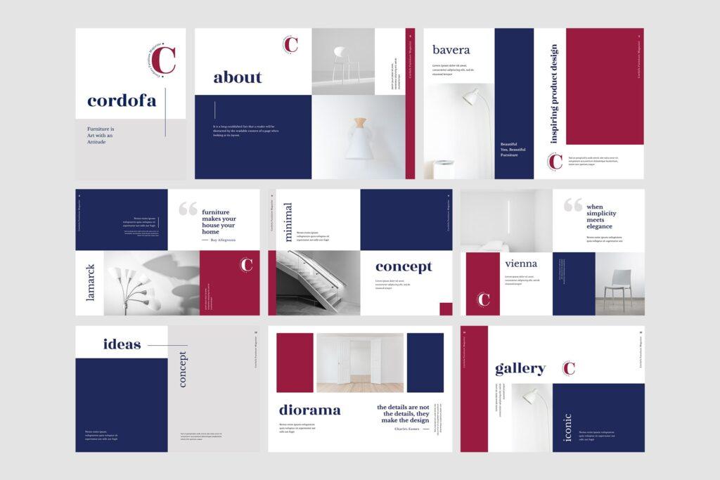 多用途欧美极致简洁版式画册杂志模版Cordofa Furniture Magazine Template插图(4)