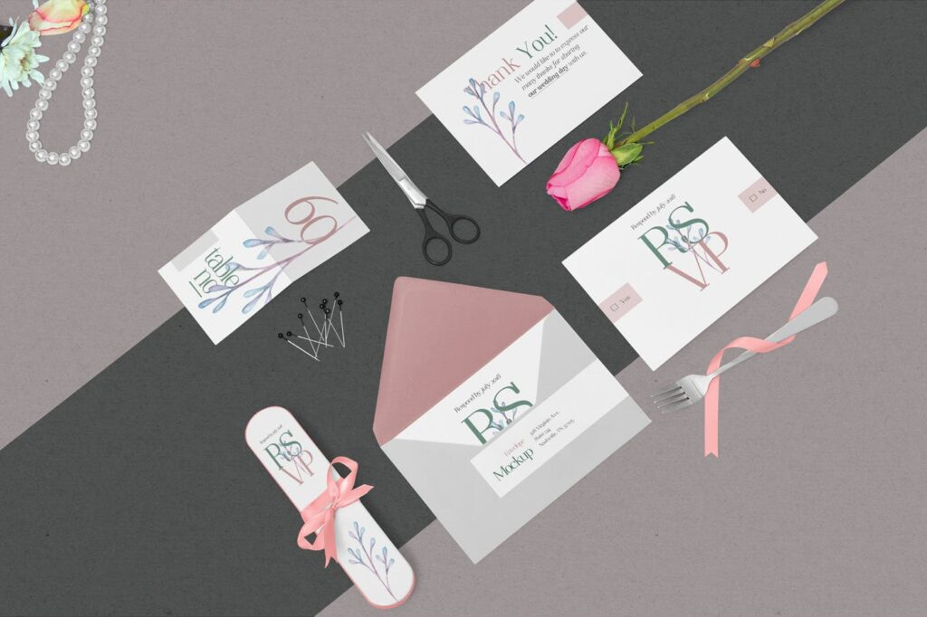 优雅婚礼邀请函贺卡模型样机素材下载Elegant Wedding Stationery Mockups插图(4)
