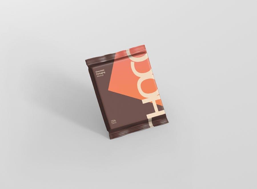 真空巧克力包装模型样机素材下载Foil Chocolate Packaging Mockup Square Size插图(4)