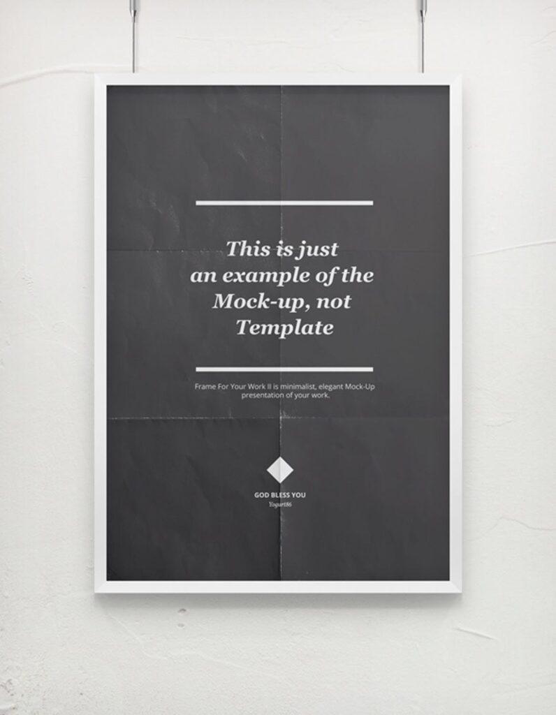 海报展示画框相框模型样机效果图Frame For Your Work 2插图(4)