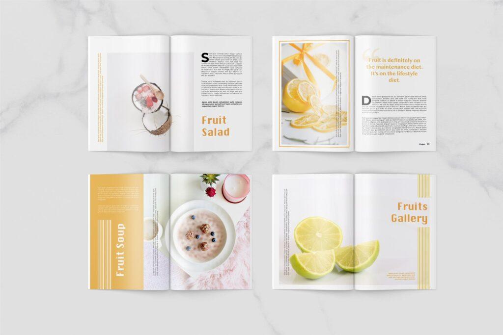养生食品美食餐饮料理画册杂志下载Fruits Food Magazine Template插图(4)