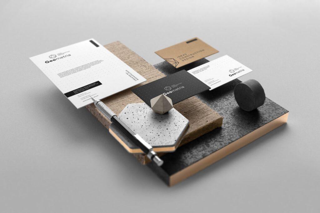 高端轻奢风房地产品牌VI模型样机效果图Geometria Branding Mockup Vol1插图(4)