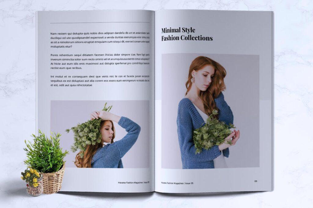 简约风格摄影工作室画册杂志模板HAVANA Minimal Magazine Fashion插图(4)