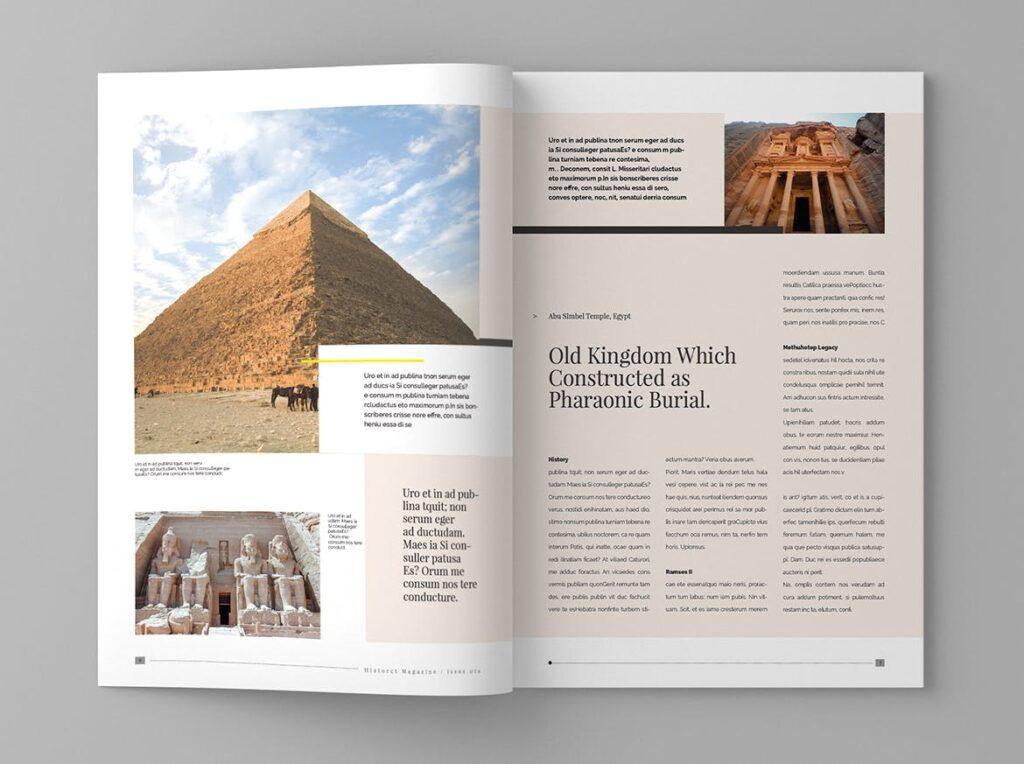 复古风格历史介绍类型杂志模板素材Historct Magazine Template插图(4)