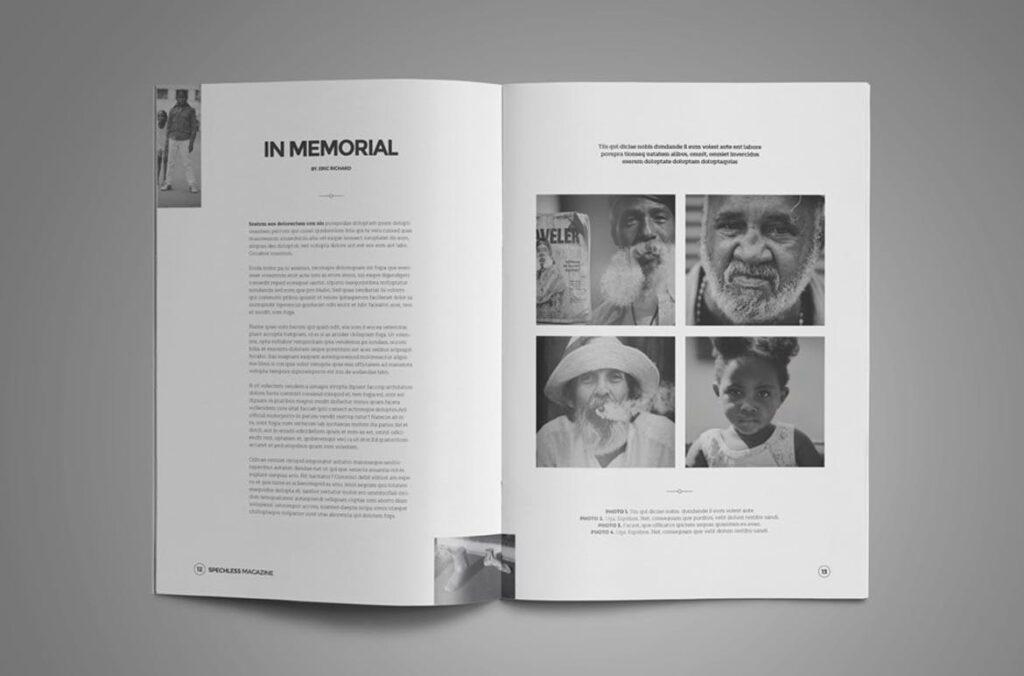 黑白风格历史介绍杂志模版素材InDesign Magazine Template WBM4TW插图(4)