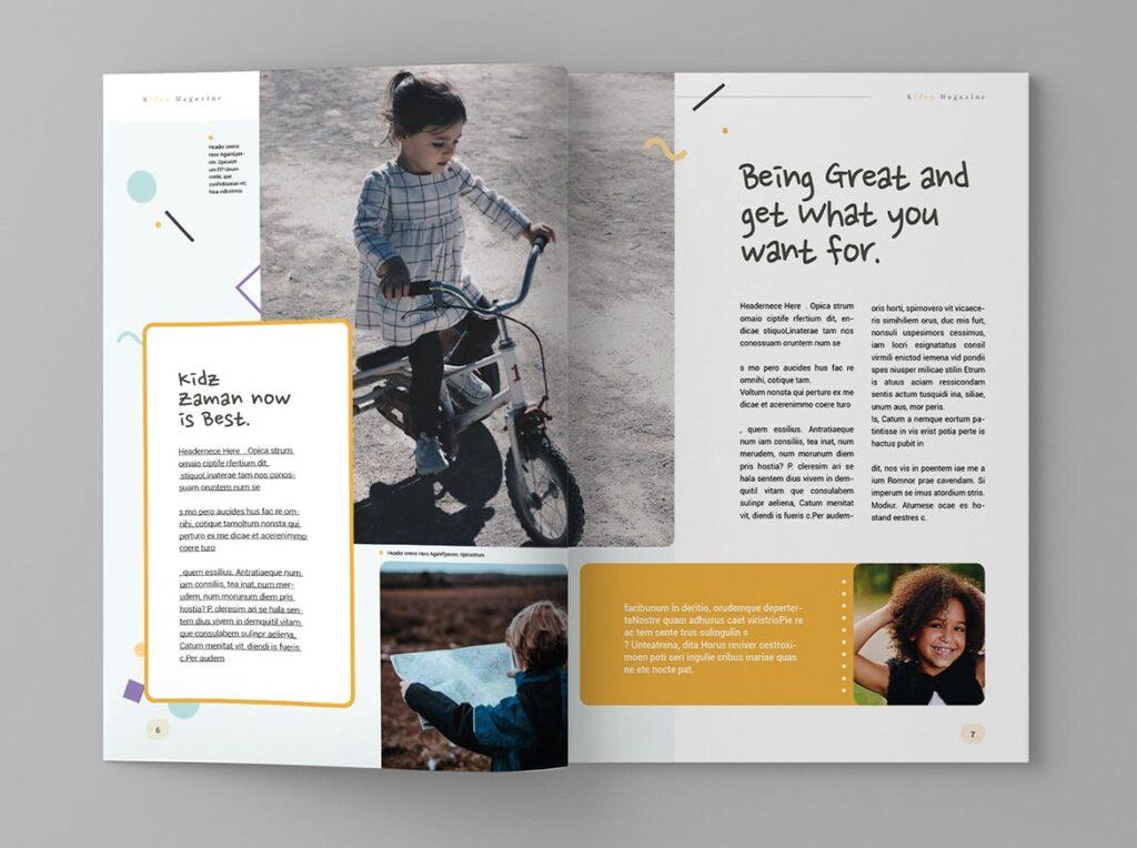 关爱儿童教育/公益事业宣传画册模板Kidea Magazine Template插图(4)