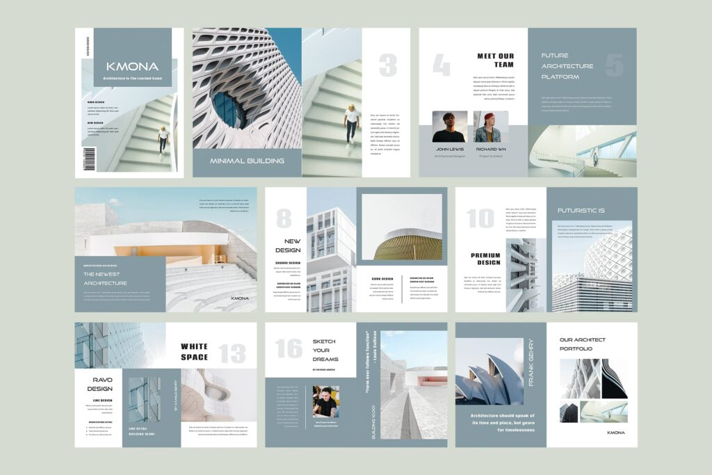 经典建筑设计类主题画册杂志模版Kmona Furniture Magazine Template插图(2)
