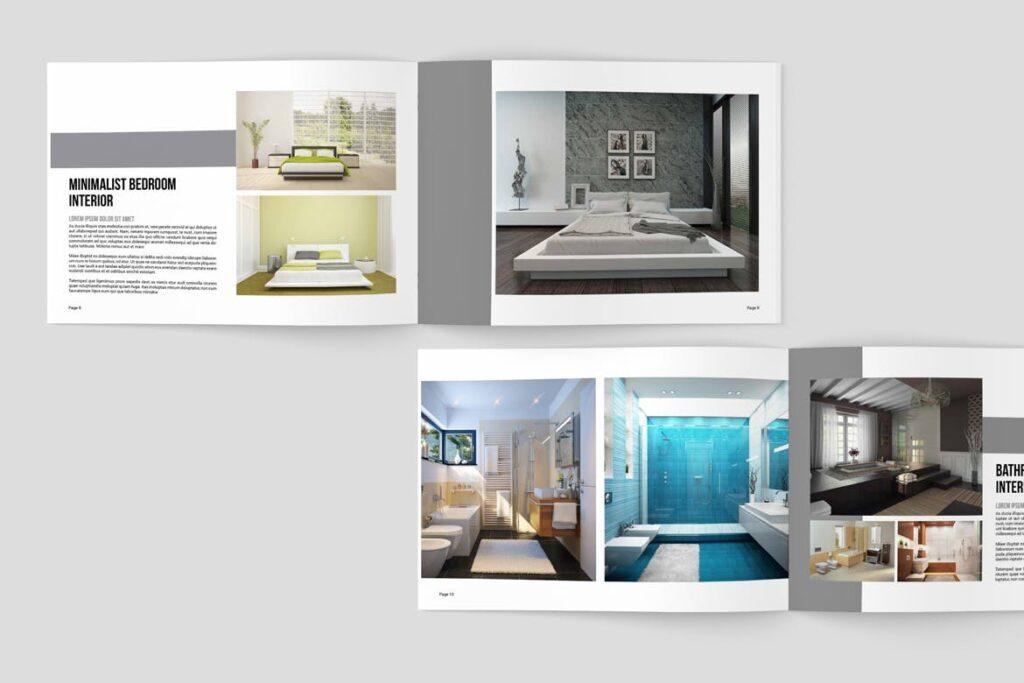 横版室内设计小册子/目录画册模板Minimal Interior Brochure插图(4)