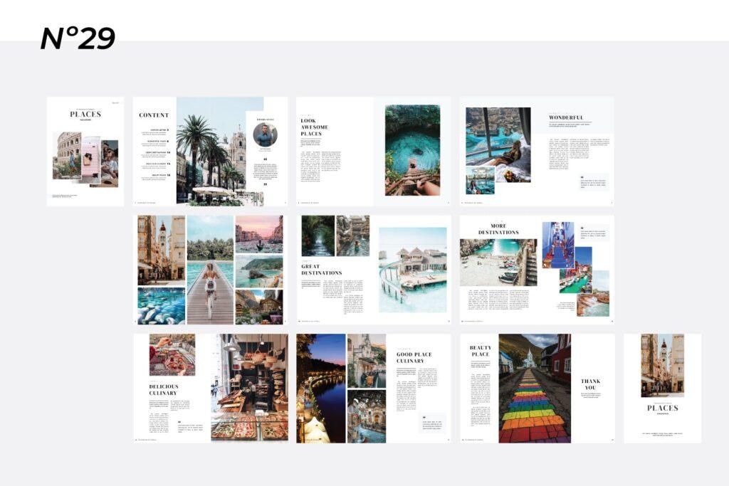 旅游简约和中性的杂志设计画册模版Place Magazine Template Lookbook插图(4)