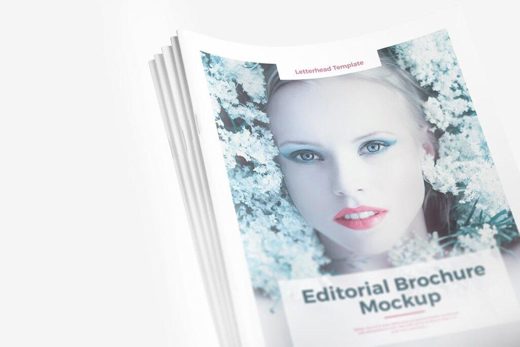 肖像A4小册子PSD模型模板样机Portrait Brochure Mockup Vol3插图(4)