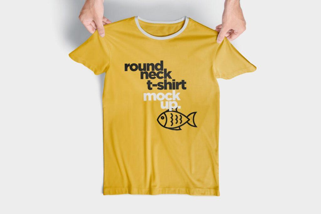 企业文化衫/圆领t恤模型/大型会议文化衫样机效果图RoundNeck T Shirt Mockups插图(3)