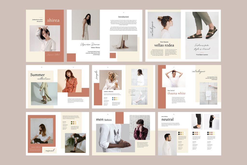 素雅时尚服装品牌画册杂志模版素材Shirea Fashion Lookbook Magazine插图(4)