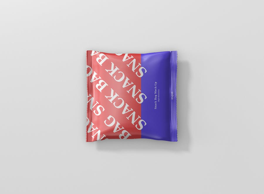 方形食品箔袋模型样机素材下载Snack Foil Bag Mockup Square Size插图(4)