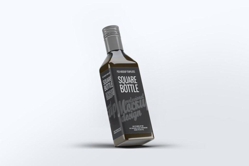 厨房通用调味瓶/黑色方形玻璃瓶模型样机素材Square Glass Bottle MockUp插图(5)