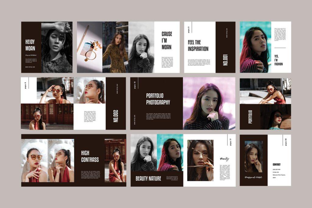 摄影作品集个人经典写真集杂志画册模版Square Photobook Magazine插图(4)